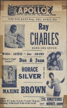 """""""Ray Charles Band and Revue"""" at the Apollo Theatre in New York City 1962 Charles Band, Ray Charles, Vintage Concert Posters, Music Posters, Vintage Posters, Soul Train Dancers, Horace Silver, 90th Birthday Invitations, Apollo Theater"""