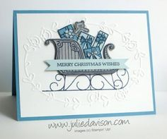 This card, the second design for my Santa's Sleigh card kit, so many little details. The blue and gray colors will remind you of the icy cold night that Santa fills his sleigh with presents for boys a