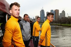 Manager Massimiliano Allegri poses with players during a Juventus boat ride along the Yarra River on July 19, 2016 in Melbourne, Australia.