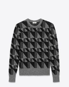 saintlaurent, Crewneck Sweater in Silver and Black Geometric Shetland Wool and Lurex