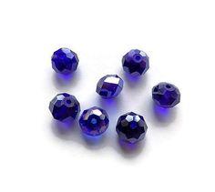 perles de verre à facettes bleu irisé 8 X 10 mm X 7 : Perles en Verre par mamiechantal-screations
