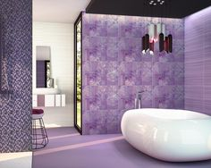 Moma Purple by Dune x (Sold per box of a tile. What a bath and what a bargain! Purple Tile, Bathroom Interior Design, Interior Tiles, Master Bathroom Design, Master Bathroom Decor, Contemporary Master Bathroom, Purple Bathrooms, Purple Home Decor, Beautiful Bathrooms