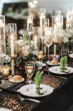 Love these black sequin table cloths with the floating candles for this head table at this New Years Eve wedding planned by Houston Wedding Planner Piper & Muse Head Table Wedding, Wedding Table Centerpieces, Wedding Table Settings, Wedding Flower Arrangements, Flower Bouquet Wedding, Wedding Decorations, Tall Centerpiece, Bridal Bouquets, Floral Arrangements