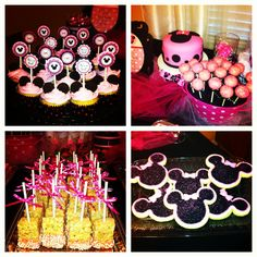 Minnie mouse baby shower #cupcakes #cakepops #fondantcake #ricecrispytreats #cookies #minniemouse #babyshower