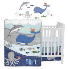 Ocean Blue 4-Piece Baby Baby Nursery Crib Bedding Set - Blue, White... Blue Bedding Sets, Baby Crib Bedding Sets, Nursery Crib, Baby Cribs, Blue Crib, Blue Baby Blanket, Nursery Themes, Nursery Ideas, Themed Nursery