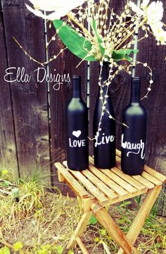 ThanksChalk Board Wine Bottles Vase, Table Decor, Wedding Table Numbers. $20.00, via Etsy. awesome pin