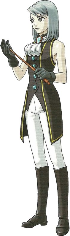 Fran Von Karma - Ace Attorney - teenager. Boots, trousers, waistcoat, x 2 crevat, broorch, gloves, cane.