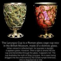 Roman glass cage cup British Museum - the Lycurgus Cup - green glass that glows red when light shines through it