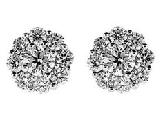 Cluster 0.92ct Diamond Push Back Post Earrings 18kt White Gold #10046