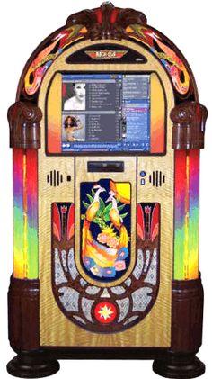 Rock Ola Peacock Nostalgic Music Center Touchscreen Digital Jukebox Model QB6PB-PV4 By Rock Ola Jukebox