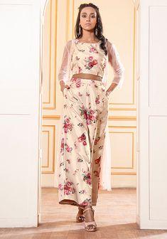 Palazzo Pants Online, Floral Palazzo Pants, Mesh Jacket, Nude Color, Vintage Floral, Pants For Women, Floral Prints, Sequins, Two Piece Skirt Set