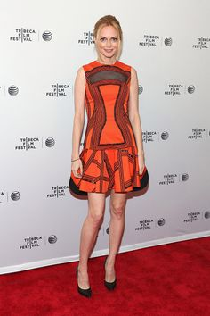 Heather Graham attended the 2014 Tribeca Film Festival in a Robert Rodriguez dress and classic black pumps by Casadei. More celebrity style here » http://stjo.es/1eXn4uf