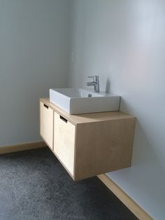 Birch plywood vanity, finished in waterproof lacquer read to install Plywood Cabinets, Plywood Furniture, Bathroom Furniture, Cool Furniture, Plywood Kitchen, Shiplap Bathroom, White Bathroom, Modern Bathroom, Plywood Design