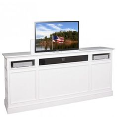 disappearing tv with pop up tv lift mounted behind. Black Bedroom Furniture Sets. Home Design Ideas