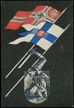 Deutsch-finnische Allianz: 1941, mehrfarbige Propagandakarte (Reichskriegsflagge neben finn