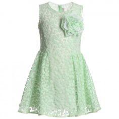 Simonetta - Green Tulle Dress with Rose Brooch | Childrensalon