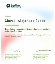 Certificado #TecnológicoDeMonterrey en #RedesSociales