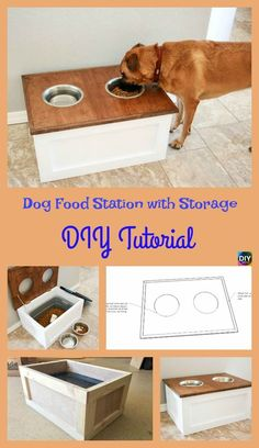 How to DIY Dog Food Station with Storage How to DIY Hundefutterstation mit Aufbewahrung Puppy Obedience Training, Dog Training Tips, Training Videos, Training Online, Training Classes, Diy Pour Chien, Dog Minding, Dog Bowl Stand, Positive Dog Training