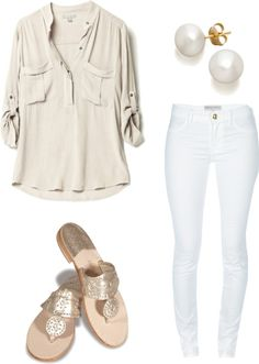 White and Beige- with gold jewelry this would be super cute