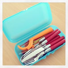 Camping tips and Organising - containerise everything including cutlery