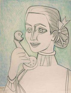 Autoportrait au Téléphone, 1952. By Françoise Gilot (France, born 1921). Wax crayon and pencil on paper.