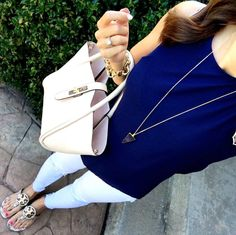 IG @mrscasual <click through to shop this look> navy scallop tank, white ripped skinny jeans, tory burch miller sandals, cream tote bag. Buy this perfect summertime going out outfit on mrscasual.com!