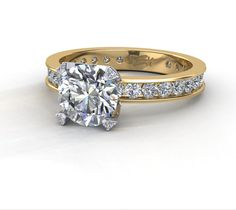 Channel-set engagement ring with micro full-cut diamonds in the prongs