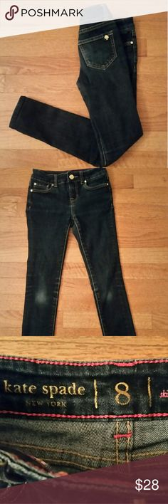"""KATE SPADE """"SKIRT THE RULES"""" GIRL JEANS KATE SPADE """" SKIRT THE RULES """" GIRL JEANS, SZ 8, DARK DENIM WITH WITH SLIGHT WASHED OUT KNEES. SKINNY JEANS.   KATE SPADE, SPADE ON BACK RIGHT JEAN POCKET. WITH GOLD HARDWARE, KATE SPADE BUTTONS. kate spade Bottoms Jeans"""