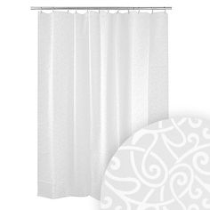 Harman Scroll White Shower Curtain