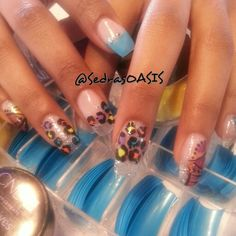 Colorful Cheetah print on Glass Nails