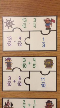 Adding & Subtracting Fractions Unlike Denominator Grade Fraction Game Grade 5 Math Worksheets, 5th Grade Math Games, 5th Grade Activities, Kindergarten Math Games, Fifth Grade Math, Adding And Subtracting Fractions, Math Fractions, Math Math, Guided Math
