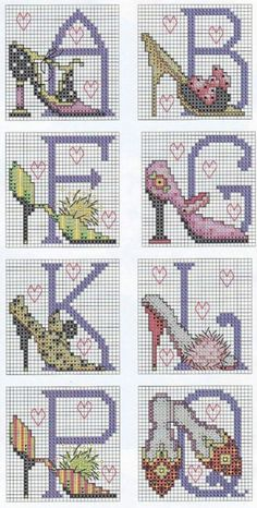 cross stitch high heels shoes and letters