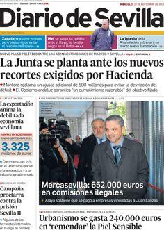 Los Titulares y Portadas de Noticias Destacadas Españolas del 27 de Noviembre de 2013 del Diario De Sevilla ¿Que le pareció esta Portada de este Diario Español?