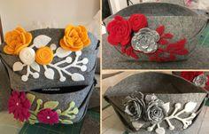 Cestino in feltro : tutorial. Carinissimi questi cestini in feltro decorati.