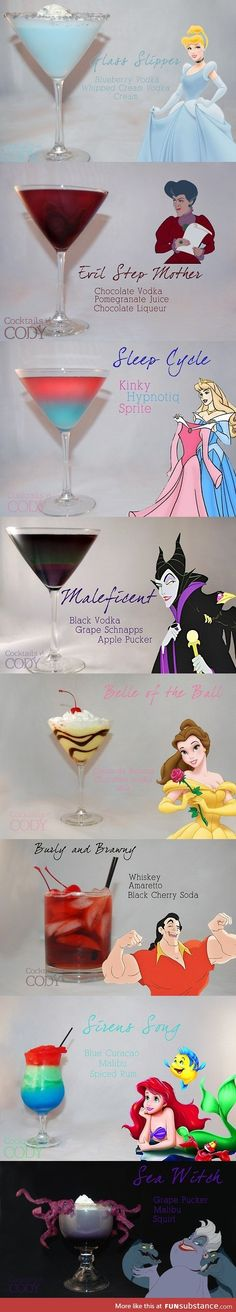 Haha Disney Princess and Villain Drinks