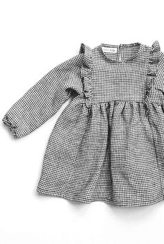 Sweet Handmade Linen Gingham Dress With Frill Detail | TotsModa on Etsy #christmasdress #holidayoutfit