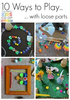 Stumped on how to use loose parts? Check this out - 10 Ways to Play with Loose Parts - creative and simple play ideas for kids of all ages Creative Activities, Creative Play, Toddler Activities, Learning Activities, Childcare Activities, Creative Curriculum, Preschool Curriculum, Preschool Ideas, Teaching Resources