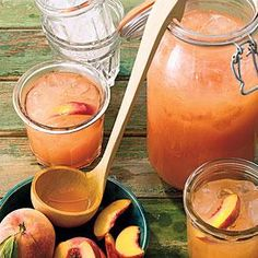 Peaches add sweet, mellow roundness to traditional lemonade for a refreshing summertime beverage. Stir in white rum or bourbon for the grown-ups.