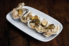 Fried Oysters with Deviled Egg Sauce and Bread and Butter Pickles from Chef Kevin Johnson of The Grocery in Charleston, SC. Photo by Paul Cheney Jr. & Jason Kaumeyer.