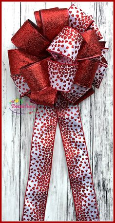 Valentine Bow Red White Omre Hearts Bow by TootsieSuesWreaths