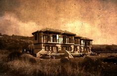 scratched, old photo style rendering of a traditional stely flat complex.