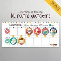My Daily Routine board extension - Routine chart for children - Magnets - Dry-erase magnetic board - Minimo playful motivation Routine Chart, Chore Magnets, Daily Calendar Template, Motivation, Mini Mo, Chore Chart Kids, Activity Board, Kids Calendar, Learn French