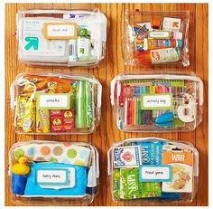 Travel kits in zippered bags, make one for each of your kids, with toys, first aid, etc. BHG