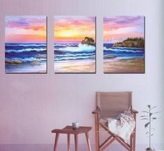 3 Pics Hawaii Big Wave Seashore Abstract Modern Art 100% Hand Painted Oil Painting on Canvas Wall Art Deco Home Decoration (Unstretch No Frame) Gp07 by galleryworldwide, http://www.amazon.com/dp/B0094RR5OO/ref=cm_sw_r_pi_dp_wBdUrb18A8ZHF