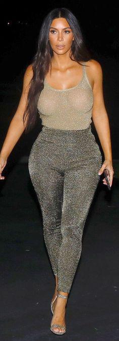 Kim Kardashian in Shirt and pants – M Missoni    Shoes – Manolo Blahnik