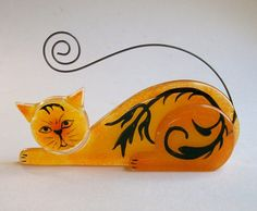 Business Card Holder/Photo Holder Fused Glass (Scrap Daddy Cat in Orange) free standing $22 by CD Childs from clear glass, powder frit, glass enamel, wire