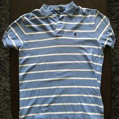 Men's Polo Shirt Men's Polo by Ralph Lauren shirt, blue and white striped. Used but still in great condition. Tops Tees - Short Sleeve