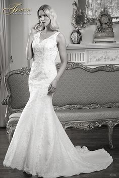 Stunning Fitted Bridal Dress with a long trail (Flare) from Finesse Bridal Wear in Listowel, Co Kerry #FitandFlare #Trail