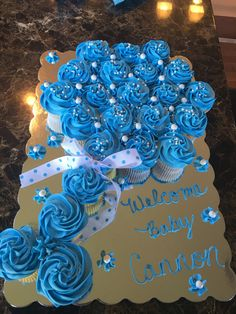 Baby Rattle cupcake pull apart cake for baby shower