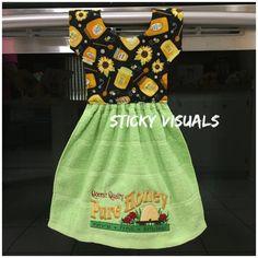 Queen's Quality Pure Honey Kitchen Oven Door Towel Green Embroidered